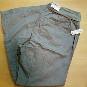Linen blend wideleg pull on pants